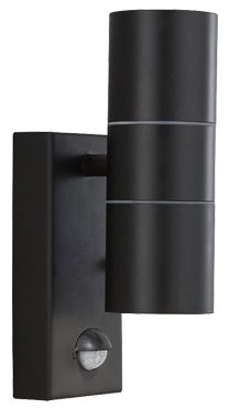 Searchlight IP44 LED Motion Sensor 2 Light Outdoor Wall Light, Black - 7008-2BK-LED