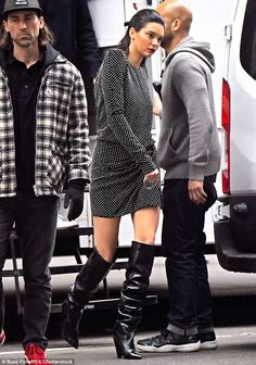 Thighs the limit: She wore black leather knee high boots to complete this look