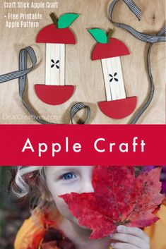 Popsicle Stick Apple Craft + Free Printable Apple Pattern -Make 1 or several and string them up for a banner. Easy to ma Craft Stick Projects, Craft Kits For Kids, Summer Crafts For Kids, Craft Stick Crafts, Spring Crafts, Kids Crafts, Crafts To Make, Art For Kids, Arts And Crafts