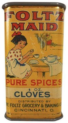 Advertising Spice Tin, Foltz Maid Cloves, The Foltz Grocery & Baking Co I need this for my Hoosier Cabinet Vintage Baking, Vintage Tins, Vintage Labels, Vintage Kitchen, Vintage Sweets, Tin Can Alley, Spice Containers, Metal Containers, Pot Pourri
