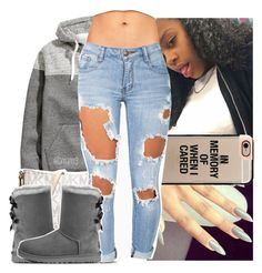 """""""love this weather"""" by lamamig ❤ liked on Polyvore featuring H&M, Casetify, MICHAEL Michael Kors and UGG Australia"""