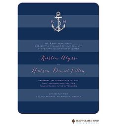 Stacy Claire Boyd Anchored In Love Wedding Invitation, anchor, beach, nautical, new designs available from Note Worthy