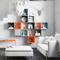 IKEA's EKET Series is the ultimate in fun, friendly and functional storage furniture featuring customizable cabinets, shelves, combinations and more. Ikea Eket, Ikea Wall, Small House Interior Design, House Design, Ikea Boxes, Ikea Box Shelves, Storage Boxes, Toy Shelves, Ikea Living Room