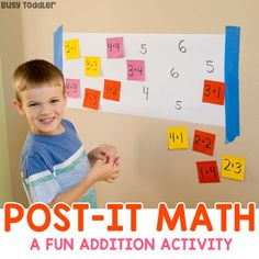Post-It Math Activity for Teaching Addition Working on addition? Try making a post-it math activity as a great alternative to worksheets! An easy number sense activity for math facts. Easy Math Games, Number Sense Activities, Kindergarten Math Games, Addition Activities, Math Activities For Kids, Math For Kids, Fun Math, Teaching Math, 1st Grade Math Games