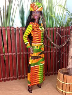 Barbie Doll Dress - African Inspired Kente Print Dress with Hat, Purse, and Shoes by EnchantedStyles on Etsy
