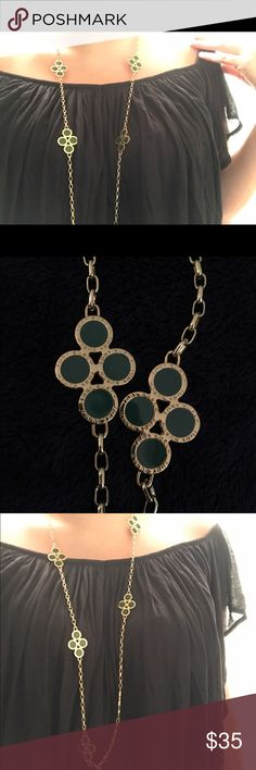 Tory Burch Necklace Gold & Emerald Colored Long Tory Burch Necklace Great Condition Tory Burch Jewelry Necklaces