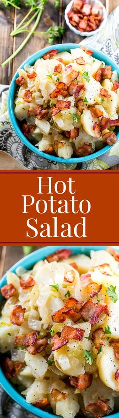 Hot Potato Salad (German Potato Salad) the perfect blend of sweet and sour and salty.