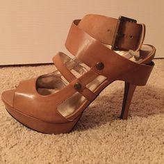 Tan strappy heels! Simply Vera Vera Wang tan strappy heels. Never worn, runs small Simply Vera Vera Wang Shoes Heels