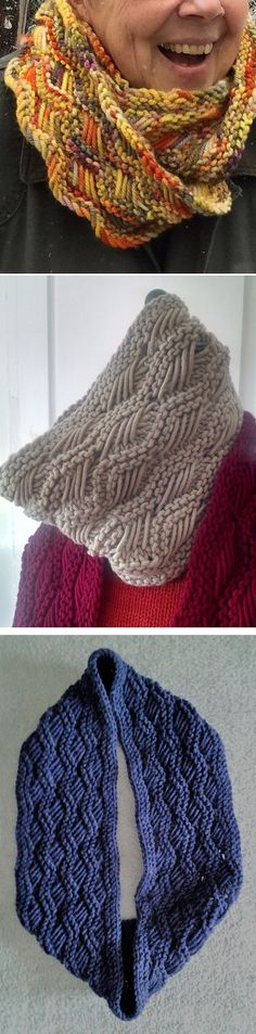 Free Knitting Pattern for Lattice Cowl - Ridges of alternating Indian Basketweave stitch and Garter stitch create this cowl in your choice of short or long size. Great with multicolor yarn! Designed by Melissa Reynolds. Pictured projects by missbabs, dyemama, and hkcwwong