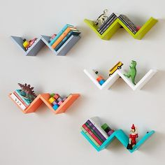 This simple zigzag shape shelf is designed to mix and match multiple shelves to create your own wall shelf display. It's a great way to add a pop of color to any room in the house and perfect storage for books & trinkets.