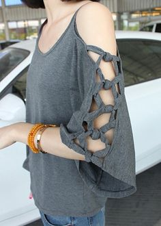 braided shoulder tshirt - might be something to try to make