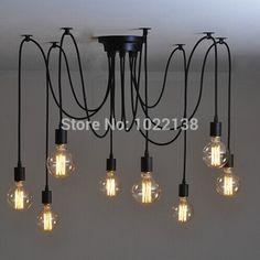Множественный Ajustable своими руками древних потолок паук лампа ретро Edison люстра Chic промышленность столовая кулон лампа