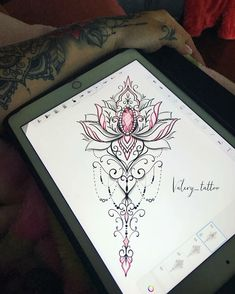 The image may contain: inside - Flower Tattoo Designs - Hand Henna Designs Sternum Tattoo, Dotwork Tattoo Mandala, Lotusblume Tattoo, Mandala Tattoo Design, Lace Tattoo, Flower Tattoo Designs, Tattoo Fonts, Flower Tattoos, Tattoo Drawings
