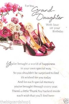 Happy Birthday to a beautiful Granddaughter