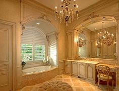 I want to have a his and a hers separate bathrooms Connected with a steam shower to share. My bathroom and closet boudoir Formal French bathroom designed by Tracy Rasor, Dallas Design Group Interiors, and built by Sharif and Munir Custom Homes.