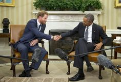 Hands across the ocean: President Obama and Prince Harry - the president said: 'We want to thank His Royal Highness for his own service in Afghanistan alongside our outstanding American troops.'