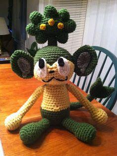 Heart in Flight Crochet: Pansage Crochet Pattern free Pokemon Crochet Pattern, Crochet Animal Patterns, Crochet Geek, Stuffed Animal Patterns, Cute Crochet, Amigurumi Patterns, Crochet Animals, Crochet Crafts, Crochet Dolls