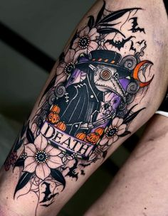 Pretty Tattoos, Cute Tattoos, Girl Tattoos, Small Tattoos, Tatoos, Goth Tattoo, Skull Girl Tattoo, Tattoo Sleeve Filler, Sleeve Tattoos