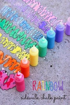Rainbow Sidewalk Chalk Paint tutorial on Learn, Play and Imagine. This and more DIY Kids Summer Ideas for your sumemr bucket list.