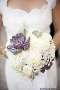 lovely ivory bridal bouquet with succulent