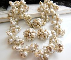 Vintage Japan White Faux Pearl Bead Cluster Necklace by erisjewels