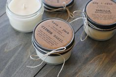 handmade soy candles with custom labels.