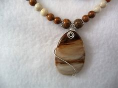 Brown/cream/Tan Picture Jasper Necklace Set. River and Iron Stone beads/Sterling Silver wrap, 17inch necklace. Gift under 85 by GratiannasAdornments on Etsy