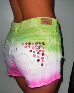 High waisted tie dye white green and pink shorts #tie-dye #shorts www.loveitsomuch.com