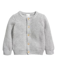 Light gray. BABY EXCLUSIVE/CONSCIOUS. Rib-knit cardigan in soft organic cotton with buttons at front.