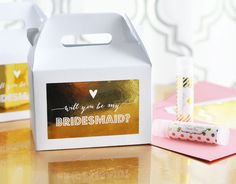 """Bridesmaid & Maid of Honor Gift Box Set with Labels (set of 8) Wedding Bridal Party """"Will you be my..."""""""