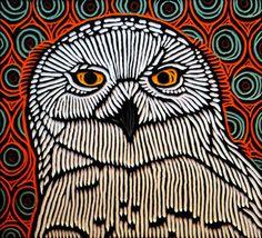 snowy owl by Lisa Brawn Owl Embroidery, Embroidery Patterns, Block Painting, Owl Eyes, Madhubani Art, Bird Artwork, Fire Art, Vintage Owl, Encaustic Art