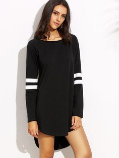 Black with White Stripe Long Sleeve High Low Dress