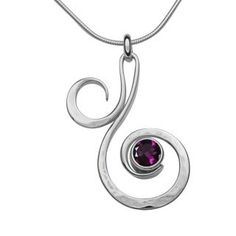 Silver Fiddlehead Gemstone Pendant