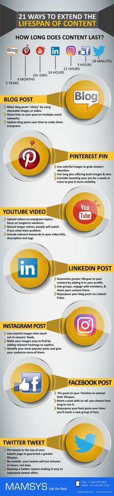 lebensdauer blog facebook twitter instagram posting infografik