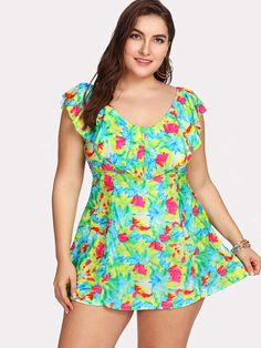 eb8b2bb725 Shein Colorblock Flounce Swim Dress Set Swim Dress, Plus Size Swimwear,  Swimming, Style