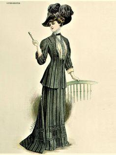 Fashion Plate - De Gracieuse - 1908 1900s Fashion, Edwardian Fashion, Vintage Fashion, Stylish Dress Designs, Stylish Dresses, Southern Fashion, Classic Style, Classic Fashion, Fashion History
