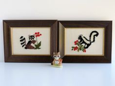 Vintage Raccoon and Skunk Crewel Embroidery, Set of 2 Framed Pictures, 1970s Handmade Needlework, Retro Home Decor, Woodland Forest Animals by TheLogChateau on Etsy