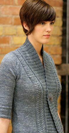 We LOVE this sweater! >> Miriam Felton Rivel Cardigan knit in The Fibre Company Savannah at yarn.com #knitting #cables #cardigan