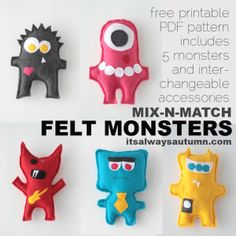 DIY felt monsters, dino hoodie and 23 other sewing tutorials for little boys!!!!!