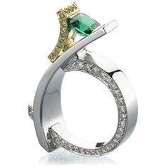 Ring | Mark Schneider.  Platinum, 18kt yellow gold, emerald, yellow and white diamonds.