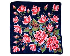 RETRO HANKIE, Mid-Century, Giant Pink Rose & Red Bouquet on Navy, 22 Roses,  Hand Rolled Hem, Graphic, Bold, Excellent Condition