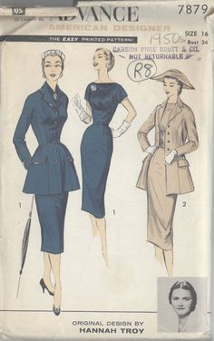 "1950s Vintage Sewing Pattern B34"" JACKET, DRESS & SCARF (R8) By HANNAH TROY  #Advance"