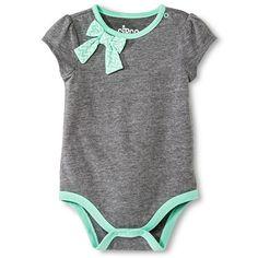 Circo™ Baby Girls' Short Sleeve placket shoulder Bow Bodysuit - Heather gray