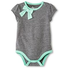Circo™ Baby Girls' Short Sleeve placket shoulder Bow Bodysuit - Heather gray