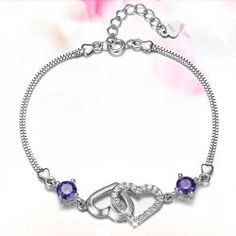 New Fashion Crystal And Hearts Hollow Design Woman's Sterling Silver Bracelet - USD $44.95