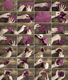 Origami Carambola Flowers by Carmen Sprung Aren't they just beautiful? Find out how to fold these origami flowers from a single sheet of paper, no glue needed! Origami Carambola Flowers -link to video tutorial by Carmen Sprung, long but includes how to fo Origami Rose, Diy Origami, Origami And Kirigami, Origami Paper Art, Origami Tutorial, Flower Tutorial, Diy Paper, Paper Crafts, Diy Crafts