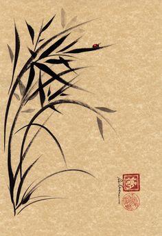 Items similar to Serene - Bamboo & ladybug sumi-e ink brush painting on Etsy Sumi E Painting, Korean Painting, Chinese Painting, Chinese Art, Chinese Brush, Japanese Painting, Chinese Style, Japanese Prints, Japanese Art