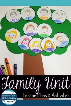 This kindergarten or first grade family unit is a perfect for teaching during back to school . Take your All About Me unit to the next level with activities, projects, and lesson plans that are fun and easy to implement. Kindergarten Family Unit, Preschool Family Theme, Kindergarten Art Projects, Kindergarten Themes, Classroom Family Tree, Family Tree For Kids, Family Tree Art, Preschool Lesson Plans, Preschool Activities