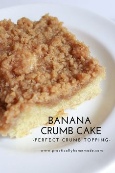 A simple quick bread, full of banana's and topped with a delicious crumb topping. Perfect for breakfast or dessert. A simple quick bread, full of banana's and topped with a delicious crumb topping. Perfect for breakfast or dessert. Banana Crumb Cake, Moist Banana Bread, Banana Blondies, Crumb Cakes, Banana Bars, Banana Recipes, Cake Recipes, Recipes With Bananas, Snack Recipes