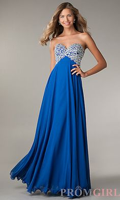 Floor Length Empire Waist Strapless Sweetheart Dress $289 at PromGirl.com